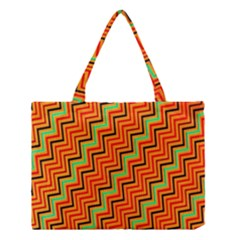 Orange Turquoise Red Zig Zag Background Medium Tote Bag by BangZart