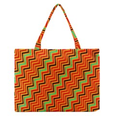 Orange Turquoise Red Zig Zag Background Medium Zipper Tote Bag