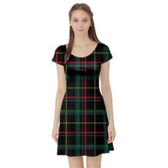 Tartan Plaid Pattern Short Sleeve Skater Dress