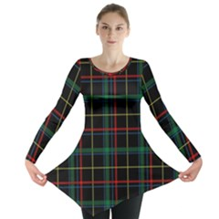 Tartan Plaid Pattern Long Sleeve Tunic