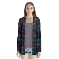 Tartan Plaid Pattern Drape Collar Cardigan