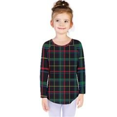 Tartan Plaid Pattern Kids  Long Sleeve Tee