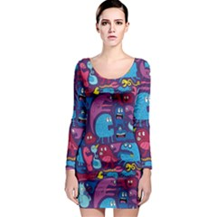 Hipster Pattern Animals And Tokyo Long Sleeve Bodycon Dress
