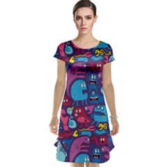 Hipster Pattern Animals And Tokyo Cap Sleeve Nightdress