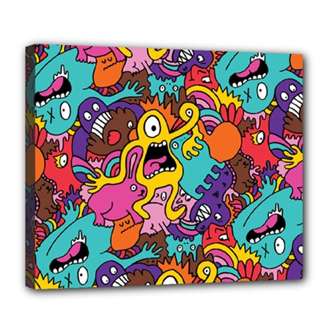 Monster Patterns Deluxe Canvas 24  X 20   by BangZart