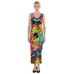 Monster Patterns Fitted Maxi Dress