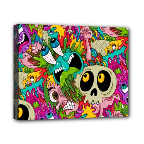 Crazy Illustrations & Funky Monster Pattern Canvas 10  X 8