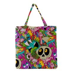 Crazy Illustrations & Funky Monster Pattern Grocery Tote Bag by BangZart