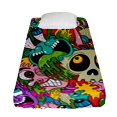 Crazy Illustrations & Funky Monster Pattern Fitted Sheet (single Size)