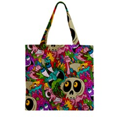 Crazy Illustrations & Funky Monster Pattern Zipper Grocery Tote Bag by BangZart