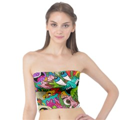 Crazy Illustrations & Funky Monster Pattern Tube Top