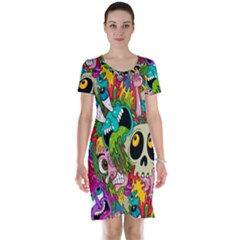 Crazy Illustrations & Funky Monster Pattern Short Sleeve Nightdress