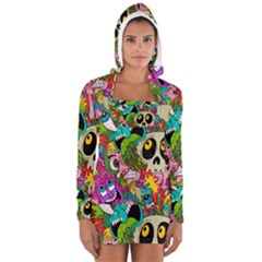 Crazy Illustrations & Funky Monster Pattern Women s Long Sleeve Hooded T Shirt
