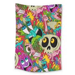 Crazy Illustrations & Funky Monster Pattern Large Tapestry