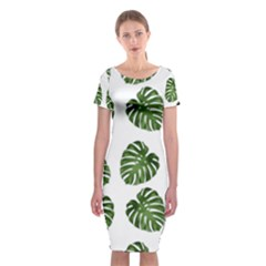 Leaf Pattern Seamless Background Classic Short Sleeve Midi Dress