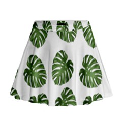 Leaf Pattern Seamless Background Mini Flare Skirt