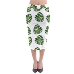Leaf Pattern Seamless Background Midi Pencil Skirt by BangZart