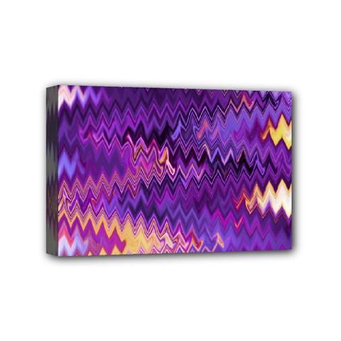 Purple And Yellow Zig Zag Mini Canvas 6  X 4  by BangZart