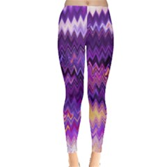 Purple And Yellow Zig Zag Leggings  by BangZart