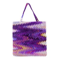 Purple And Yellow Zig Zag Grocery Tote Bag by BangZart