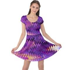 Purple And Yellow Zig Zag Cap Sleeve Dresses