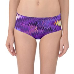 Purple And Yellow Zig Zag Mid Waist Bikini Bottoms