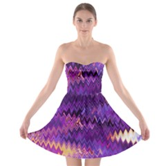 Purple And Yellow Zig Zag Strapless Bra Top Dress