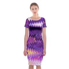 Purple And Yellow Zig Zag Classic Short Sleeve Midi Dress