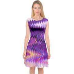 Purple And Yellow Zig Zag Capsleeve Midi Dress