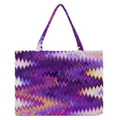 Purple And Yellow Zig Zag Medium Zipper Tote Bag