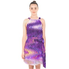 Purple And Yellow Zig Zag Halter Collar Waist Tie Chiffon Dress