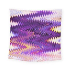 Purple And Yellow Zig Zag Square Tapestry (small)