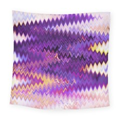 Purple And Yellow Zig Zag Square Tapestry (large) by BangZart