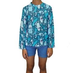 Monster Pattern Kids  Long Sleeve Swimwear