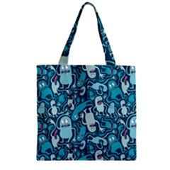 Monster Pattern Zipper Grocery Tote Bag
