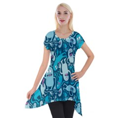 Monster Pattern Short Sleeve Side Drop Tunic