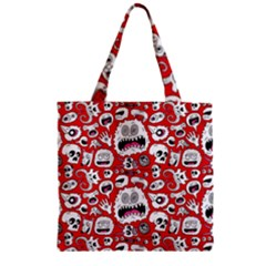 Another Monster Pattern Zipper Grocery Tote Bag by BangZart