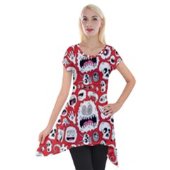 Another Monster Pattern Short Sleeve Side Drop Tunic by BangZart