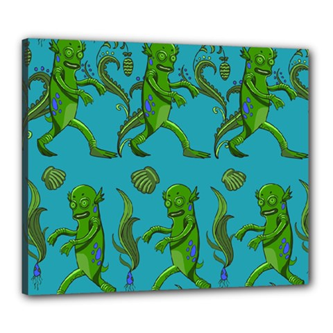 Swamp Monster Pattern Canvas 24  X 20  by BangZart