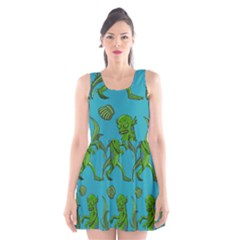 Swamp Monster Pattern Scoop Neck Skater Dress