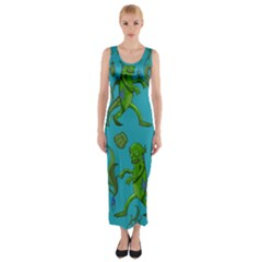 Swamp Monster Pattern Fitted Maxi Dress
