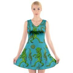 Swamp Monster Pattern V Neck Sleeveless Skater Dress