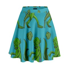 Swamp Monster Pattern High Waist Skirt