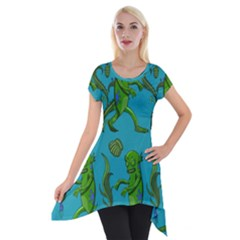 Swamp Monster Pattern Short Sleeve Side Drop Tunic