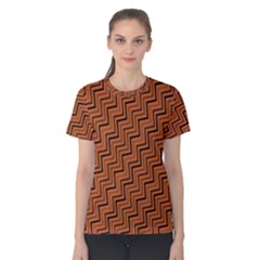 Brown Zig Zag Background Women s Cotton Tee