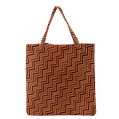 Brown Zig Zag Background Grocery Tote Bag