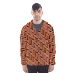 Brown Zig Zag Background Hooded Wind Breaker (men)