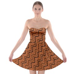 Brown Zig Zag Background Strapless Bra Top Dress