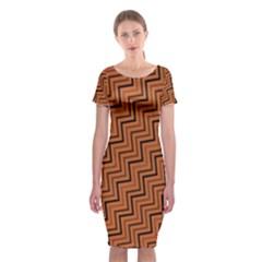 Brown Zig Zag Background Classic Short Sleeve Midi Dress