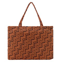 Brown Zig Zag Background Medium Zipper Tote Bag
